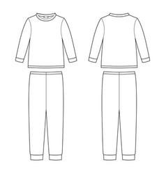 Children pajamas technical sketch cotton vector