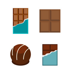 chocolate icon set flat style vector image