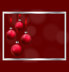 christmas greeting card design with realistic red vector image