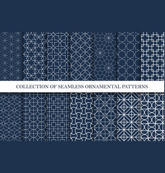 collection ornamental seamless patterns vector image