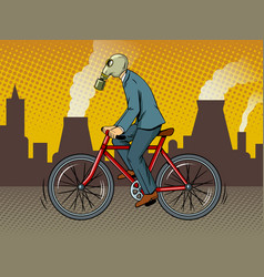 cycling with bad ecology pop art vector image