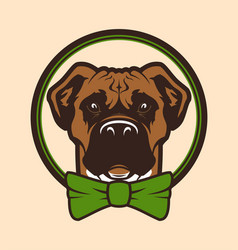 Dog head mascot character in bow tie vector