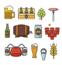 doodle flat icons set of beer symbols vector image