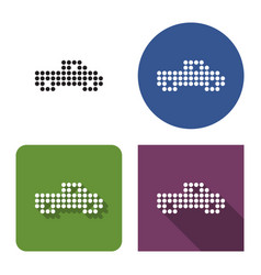 dotted icon pickup truck in four variants with vector image