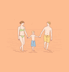 family vacation love happiness concept vector image