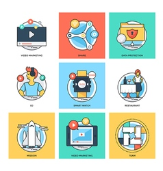 Flat Color Line Design Concepts Icons 33 vector image