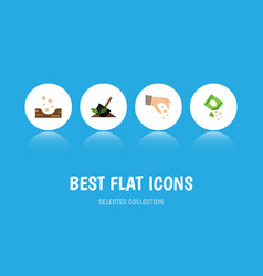 Flat icon sow set of seed soil packet and other vector