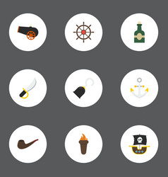 flat icons pirate armature vessel and other vector image