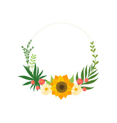 floral circle frame with blooming flowers leaves vector image