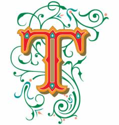 floral letter t vector image