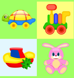 Four playthings for children colorful poster vector
