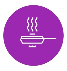 Frying pan with cover line icon vector
