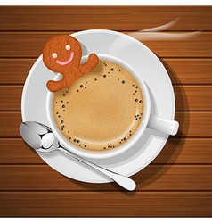 Ginger bread soak in cup of hot coffee vector