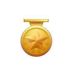gold medal with realistic golden star isolated on vector image