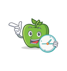 green apple character cartoon with clock vector image vector image