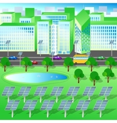Green city trees lake renewable energy vector