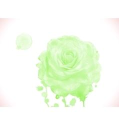 Green watercolor rose vector