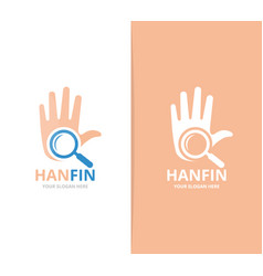 Hand and loupe logo combination arm and vector