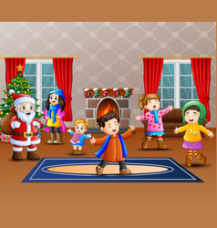 Happy santa claus with some kids in the home vector