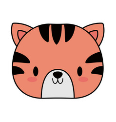 Head tiger bakawaii line and fill style vector