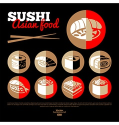 Japan sushi Asian food vector