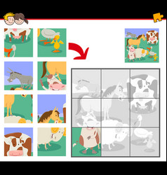 Jigsaw puzzles with cute farm animals vector