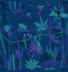 jungle wildlife animals seamless pattern vector image