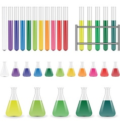 Laboratory flasks and test tubes vector