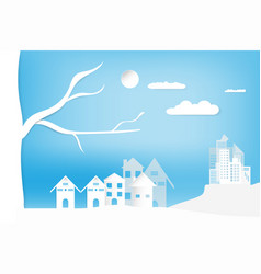 landscape city town and house with sky cloud vector image