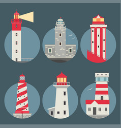 Lighthouses flat searchlight towers for vector
