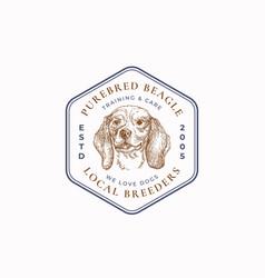 Local dog breeder frame badge or logo template vector