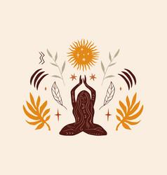 Lotus yoga boho girl pose meditation silhouette vector