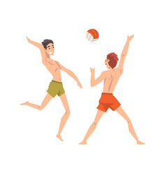 men in shorts playing beach volleyball male vector image