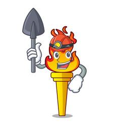 Miner torch mascot cartoon style vector