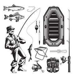 Monochrome Fishing Elements Set vector