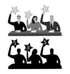 Monochrome show jury silhouettes vector