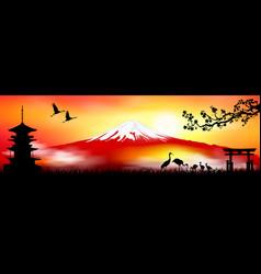 Mount fuji at sunset japanese landscape vector