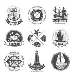 Nautical Labels Set vector image