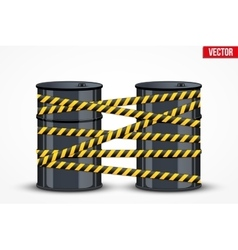Oil barrels with danger line vector