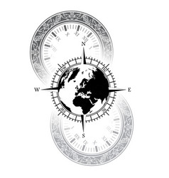 Old watch world windrose symbol vector