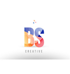 Orange blue alphabet letter bs b s logo icon vector