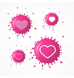 Pink Splash Heart Symbols Set Isolated on White vector image
