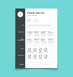 Professional cv resume with vitae and curriculum vector