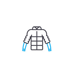 puffy jacket thin line stroke icon puffy vector image