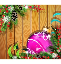 Purple Christmas ball on wooden background vector