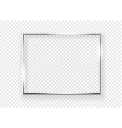 Realistic shining metal picture frame on a wall vector