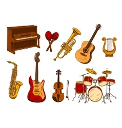 Retro sketch classical musical instruments vector