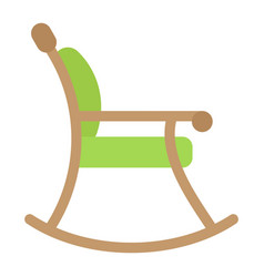 Rocking chair flat icon furniture and interior vector