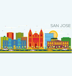 san jose skyline with color buildings and blue sky vector image