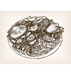 Seafood still life hand drawn sketch style vector image
